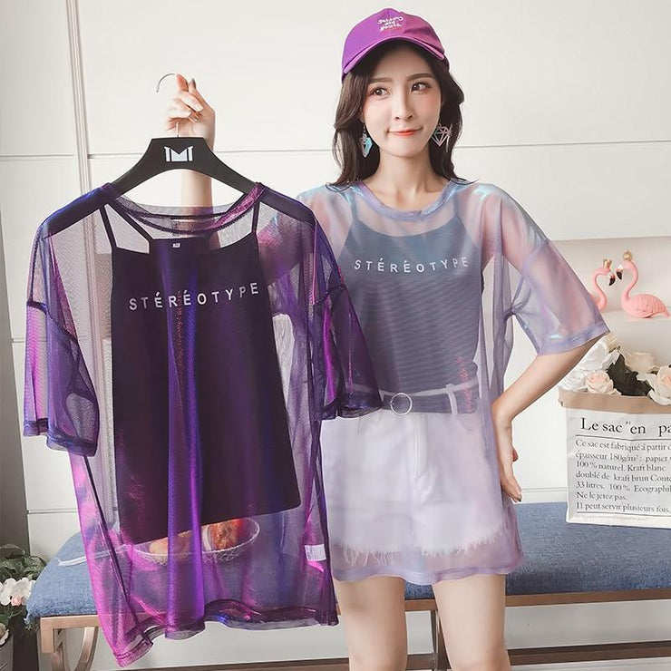 Purple Hollow Out Transparent T-Shirt Harajuku Top Gotamochi BTS MERCH BT21 MERCH KAWAII STORE