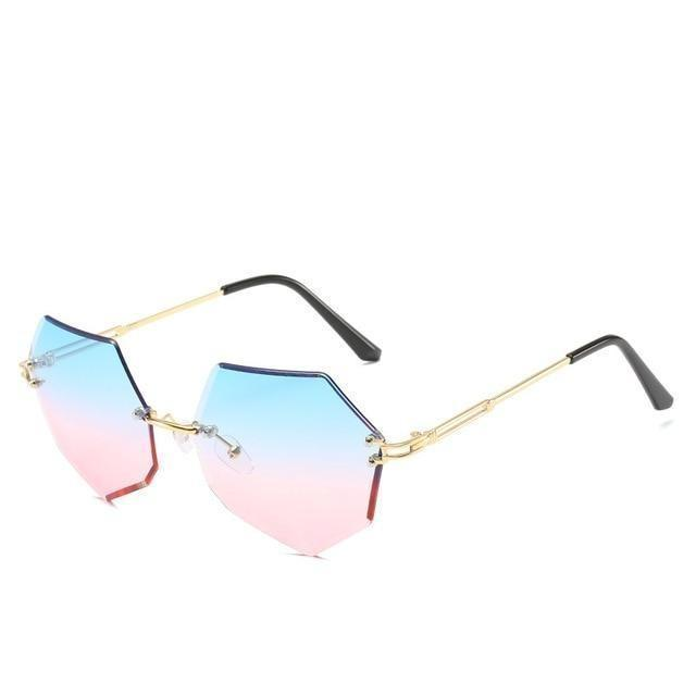 Rimless Gradient Sunglasses Korean Fashion Eyewear Blue Pink Gotamochi BTS MERCH BT21 MERCH KAWAII STORE