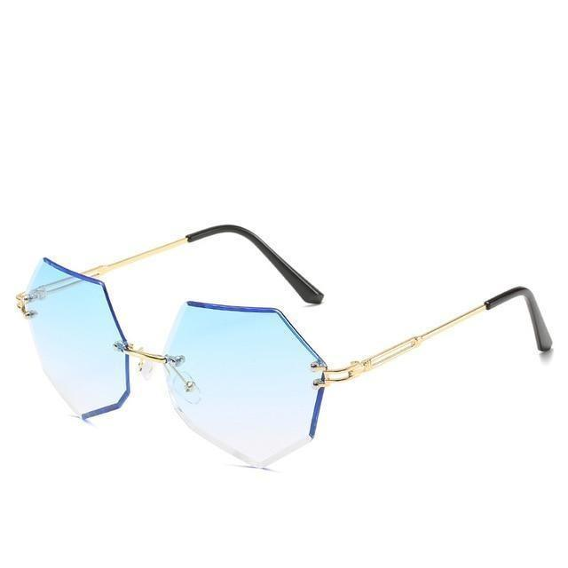 Rimless Gradient Sunglasses Korean Fashion Eyewear Gradient Blue Gotamochi BTS MERCH BT21 MERCH KAWAII STORE