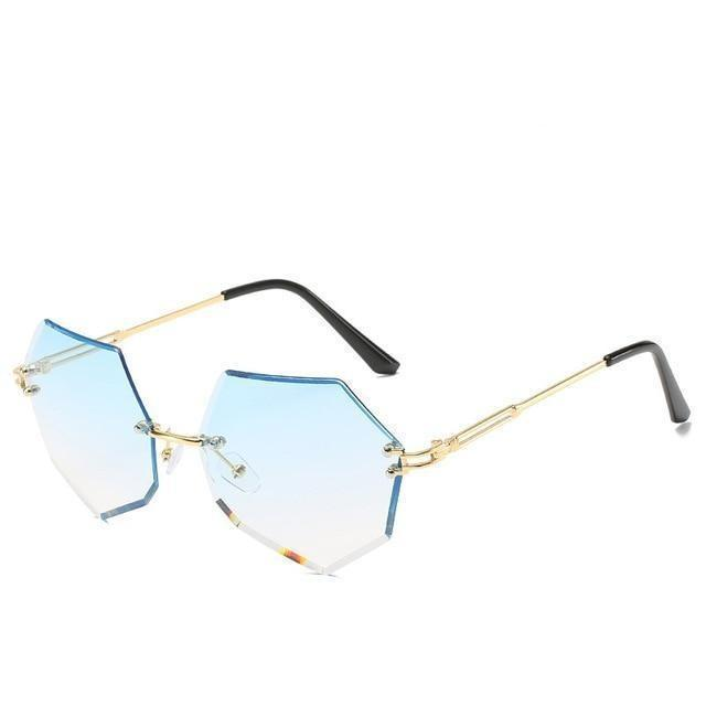 Rimless Gradient Sunglasses Korean Fashion Eyewear Gradient Green Gotamochi BTS MERCH BT21 MERCH KAWAII STORE