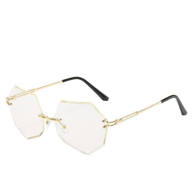 Rimless Gradient Sunglasses Korean Fashion Eyewear Transparent White Gotamochi BTS MERCH BT21 MERCH KAWAII STORE