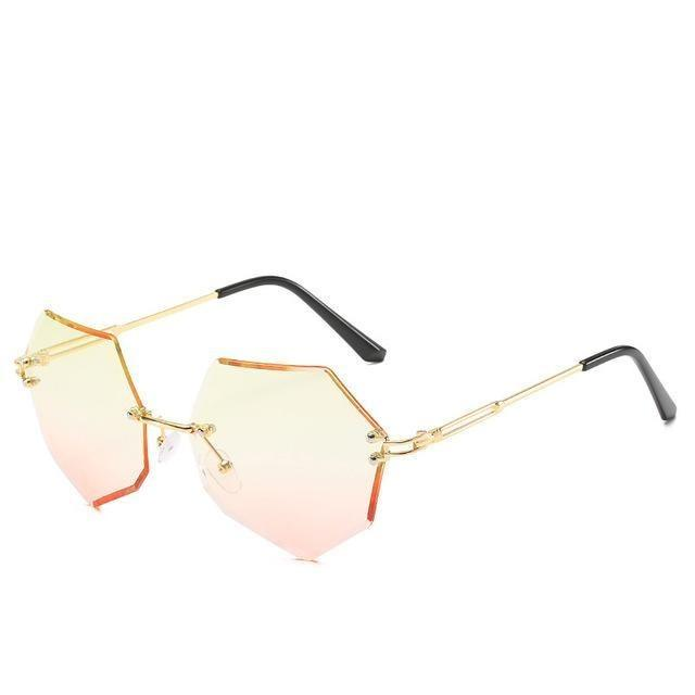 Rimless Gradient Sunglasses Korean Fashion Eyewear Yellow Pink Gotamochi BTS MERCH BT21 MERCH KAWAII STORE