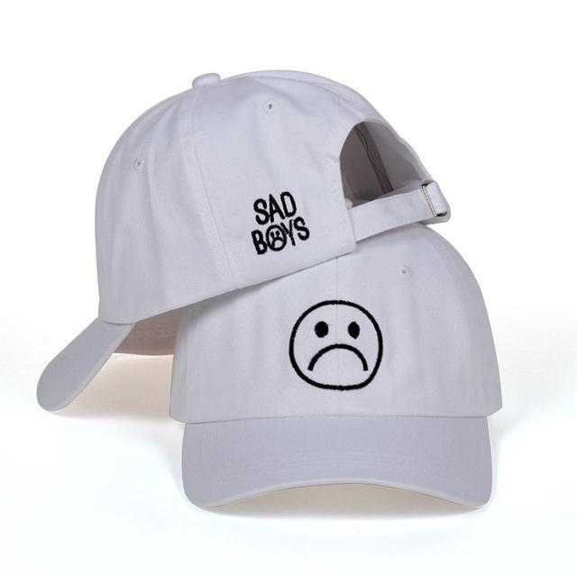 Sad Boys Cap White Gotamochi BTS MERCH BT21 MERCH KAWAII STORE