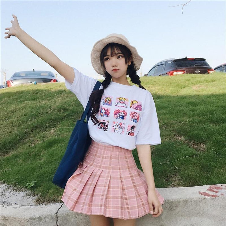Sailor Moon T-Shirt Harajuku Cartoon Top White / M Gotamochi BTS MERCH BT21 MERCH KAWAII STORE