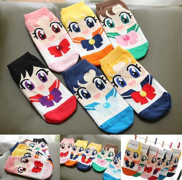 Sailormoon Cartoon Ankle Socks (Set - 6 Pairs) - GOTAMOCHI KPOP BTS MERCH KAWAII Shop - Costume Accessories