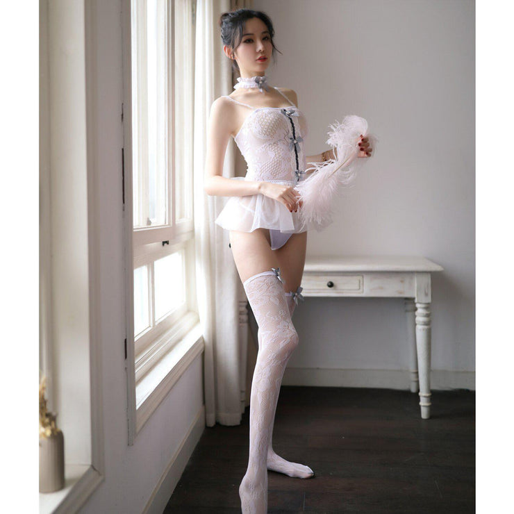 Sexy Babydoll Mini Short Dress Cosplay Lingerie White / XXS Gotamochi BTS MERCH BT21 MERCH KAWAII STORE