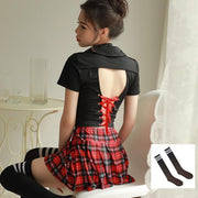 Sexy Schoolgirl Back Lace Uniform Costume Lingerie With Socks / One Size Gotamochi BTS MERCH BT21 MERCH KAWAII STORE