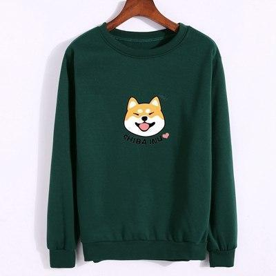Shiba Inu Pullover dark green / M Gotamochi BTS MERCH BT21 MERCH KAWAII STORE