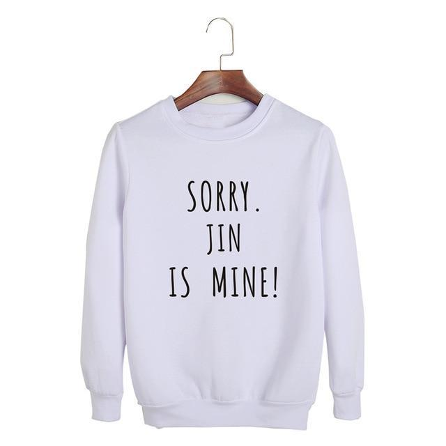 Sorry, BTS is Mine! Pullover JIN White / S Gotamochi BTS MERCH BT21 MERCH KAWAII STORE