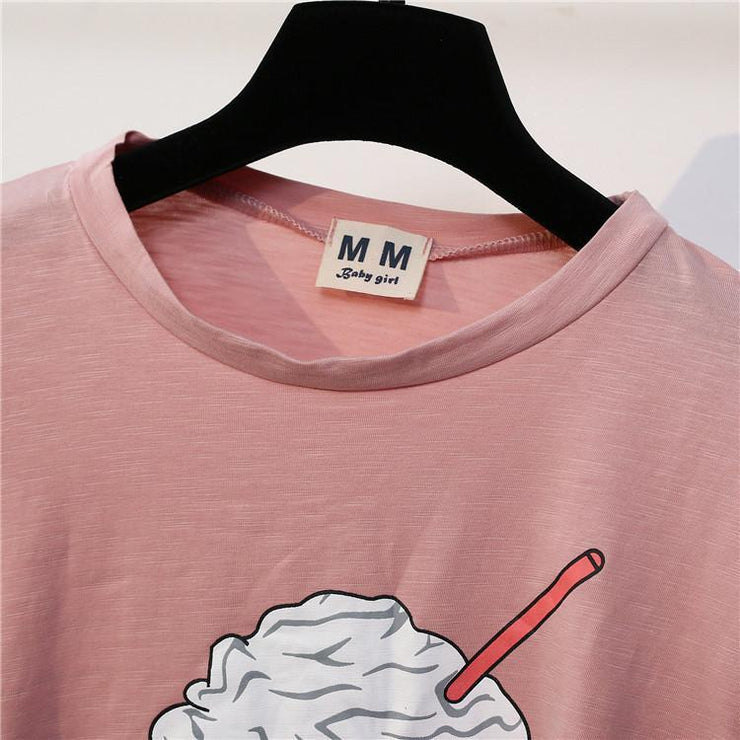 Summer Ice Cream Crop Top Korean Cotton T-Shirt Gotamochi BTS MERCH BT21 MERCH KAWAII STORE