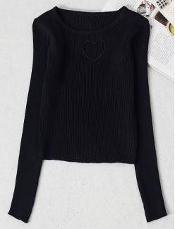 Sweet Heart Hollow Sweater Black / One Size Gotamochi BTS MERCH BT21 MERCH KAWAII STORE