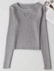 Sweet Heart Hollow Sweater Gray / One Size Gotamochi BTS MERCH BT21 MERCH KAWAII STORE