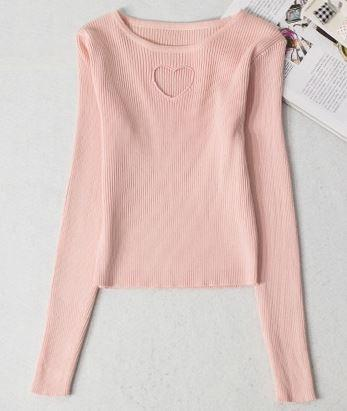 Sweet Heart Hollow Sweater Pink / One Size Gotamochi BTS MERCH BT21 MERCH KAWAII STORE