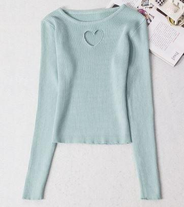 Sweet Heart Hollow Sweater Sky Blue / One Size Gotamochi BTS MERCH BT21 MERCH KAWAII STORE