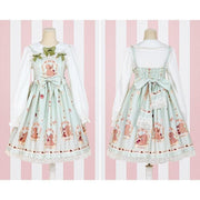 Sweet Lolita Princess Victorian High Waist Dress Kawaii Outfit Gotamochi BTS MERCH BT21 MERCH KAWAII STORE