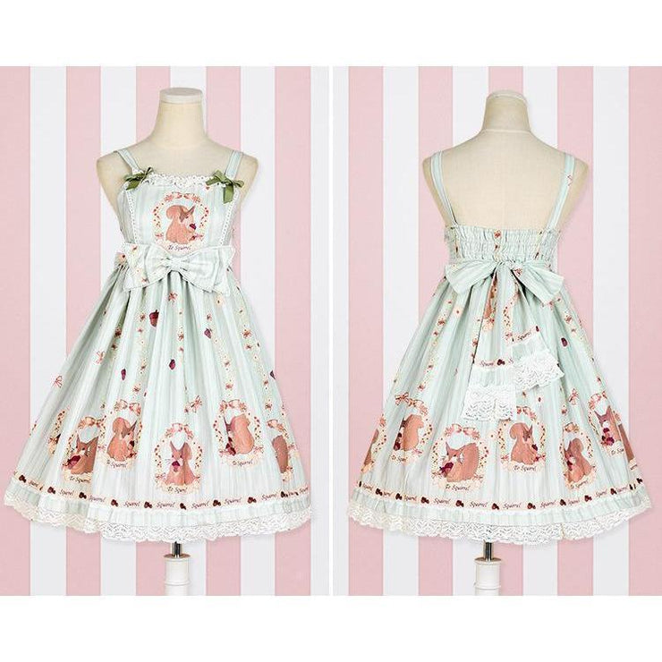 Sweet Lolita Princess Victorian High Waist Dress Kawaii Outfit Green / S Gotamochi BTS MERCH BT21 MERCH KAWAII STORE