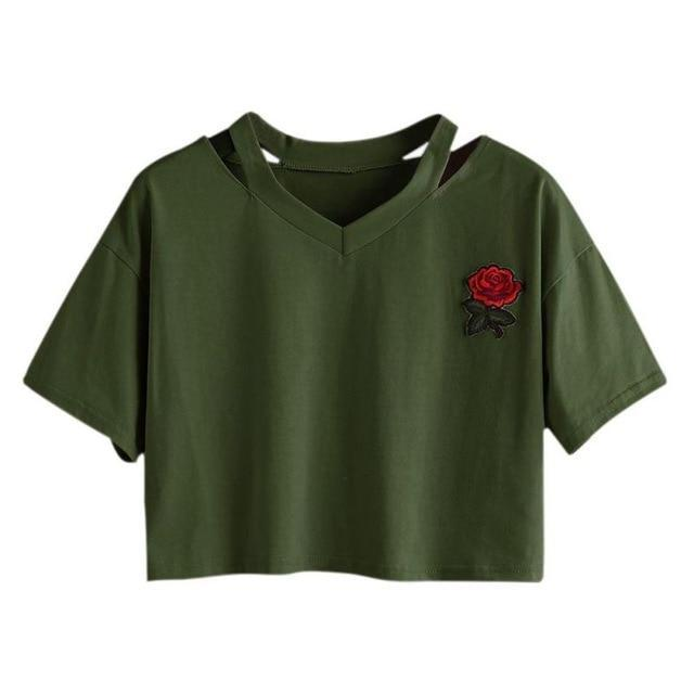 Take This Rose V Crop Top Army Green / L Gotamochi BTS MERCH BT21 MERCH KAWAII STORE