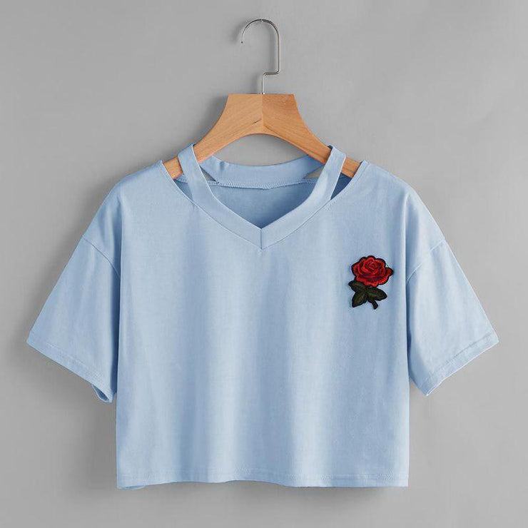 Take This Rose V Crop Top Gotamochi BTS MERCH BT21 MERCH KAWAII STORE