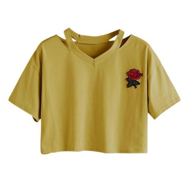 Take This Rose V Crop Top Gold / L Gotamochi BTS MERCH BT21 MERCH KAWAII STORE