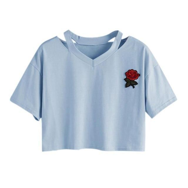 Take This Rose V Crop Top Sky Blue / L Gotamochi BTS MERCH BT21 MERCH KAWAII STORE