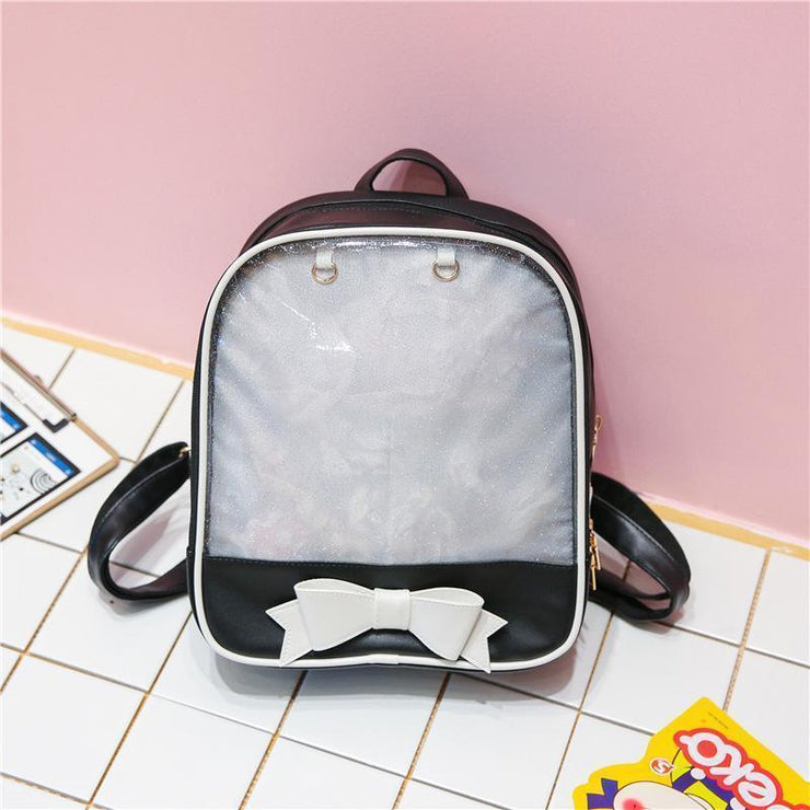 Transparent Glitter Bow Backpack Kawaii School Bag Black Gotamochi BTS MERCH BT21 MERCH KAWAII STORE