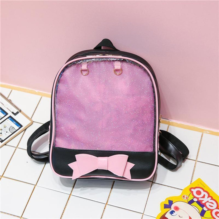 Transparent Glitter Bow Backpack Kawaii School Bag Black Pink Gotamochi BTS MERCH BT21 MERCH KAWAII STORE