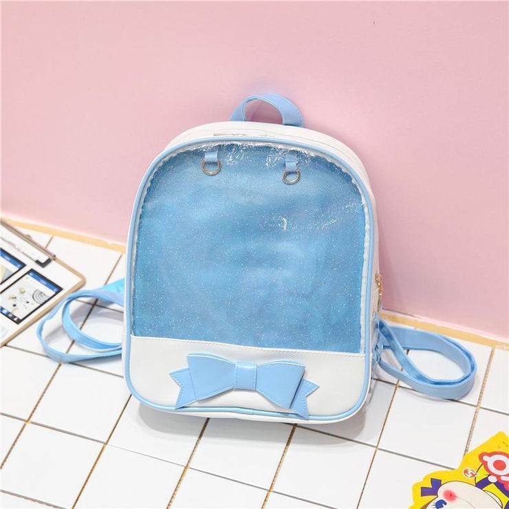 Transparent Glitter Bow Backpack Kawaii School Bag Blue Gotamochi BTS MERCH BT21 MERCH KAWAII STORE