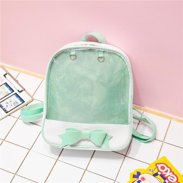 Transparent Glitter Bow Backpack Kawaii School Bag Green Gotamochi BTS MERCH BT21 MERCH KAWAII STORE