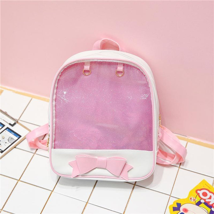 Transparent Glitter Bow Backpack Kawaii School Bag Pink Gotamochi BTS MERCH BT21 MERCH KAWAII STORE