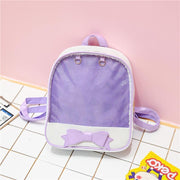 Transparent Glitter Bow Backpack Kawaii School Bag Purple Gotamochi BTS MERCH BT21 MERCH KAWAII STORE
