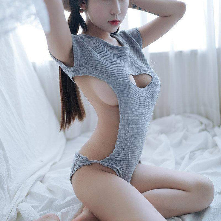 Virgin Killer Sweater 2.0 New Sexy Hollow Chest Lingerie [3 Colors] Sky Blue / S Gotamochi BTS MERCH BT21 MERCH KAWAII STORE