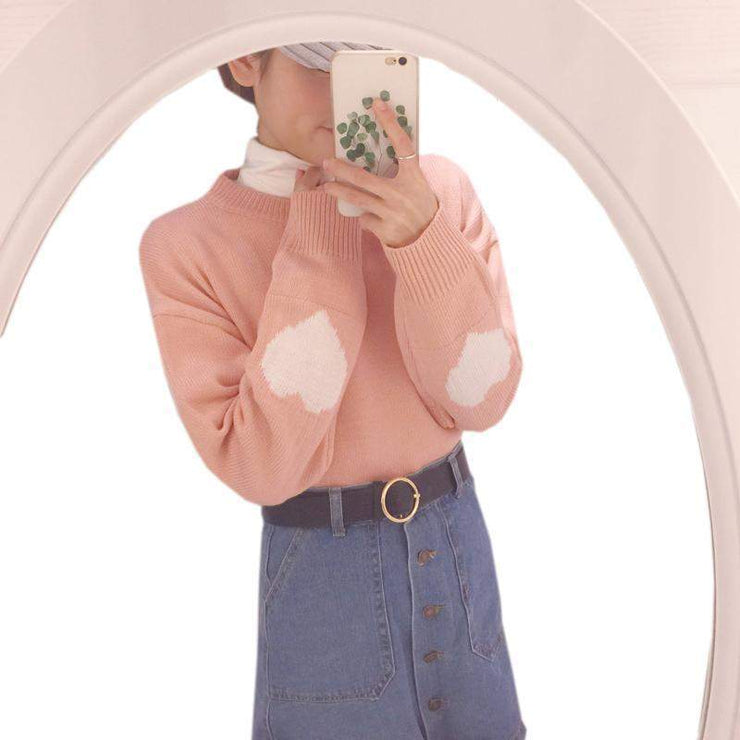 Warm Pastel Harajuku Heart Sleeve Sweater Pullover [4 Colors] Pink / One Size Gotamochi BTS MERCH BT21 MERCH KAWAII STORE