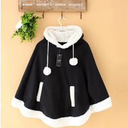 Winter Candy Fleece Cloak Hoodie Cape [6 Colors] Black / One Size Gotamochi BTS MERCH BT21 MERCH KAWAII STORE