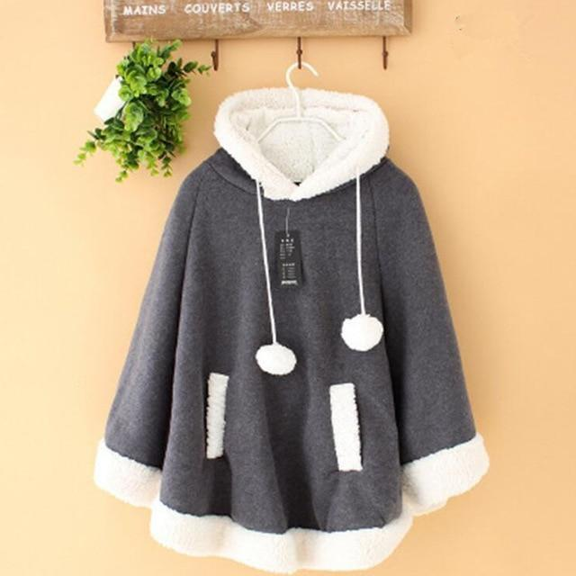 Winter Candy Fleece Cloak Hoodie Cape [6 Colors] Dark Grey / One Size Gotamochi BTS MERCH BT21 MERCH KAWAII STORE