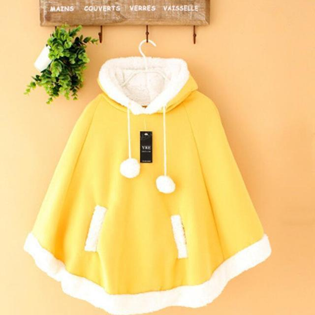 Winter Candy Fleece Cloak Hoodie Cape [6 Colors] Yellow / One Size Gotamochi BTS MERCH BT21 MERCH KAWAII STORE