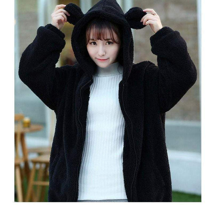 Winter Warm Fluffy Bear Kawaii Hoodie Jacket [3 Colors] Black / One Size Gotamochi BTS MERCH BT21 MERCH KAWAII STORE