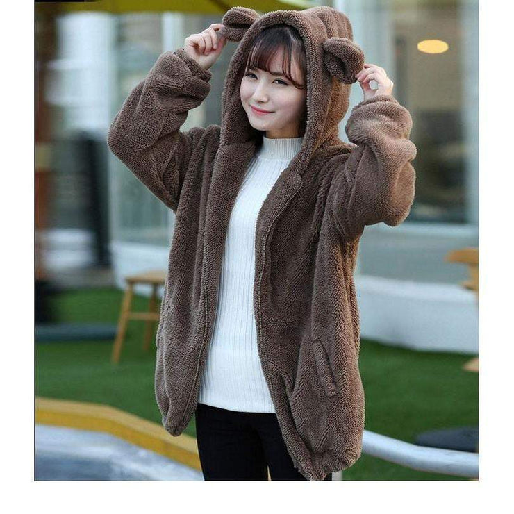 Winter Warm Fluffy Bear Kawaii Hoodie Jacket [3 Colors] Brown / One Size Gotamochi BTS MERCH BT21 MERCH KAWAII STORE