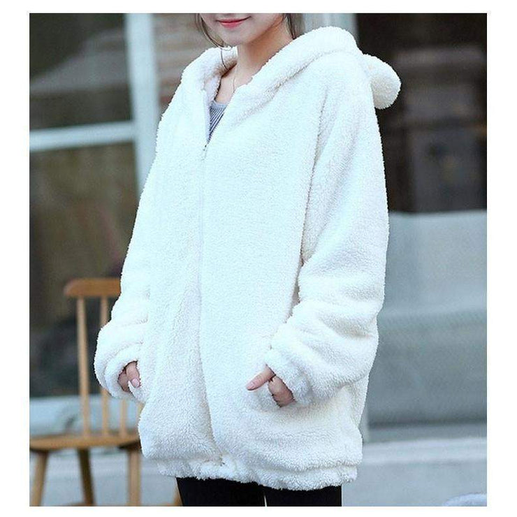 Winter Warm Fluffy Bear Kawaii Hoodie Jacket [3 Colors] White / One Size Gotamochi BTS MERCH BT21 MERCH KAWAII STORE
