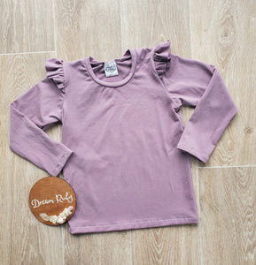 PREORDER dusty purple flutter sleeve top