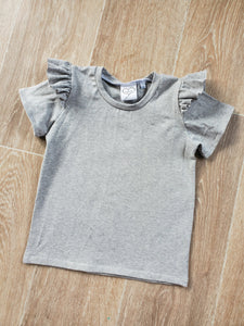 PREORDER grey flutter sleeve top