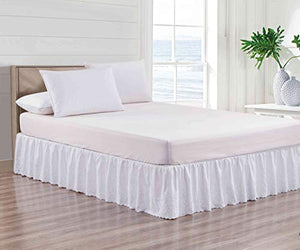 "Sheets & Beyond Super Soft Solid Brushed Microfiber 14"" Drop Pleated with Embroidery Bed Skirt/Dust Ruffle"