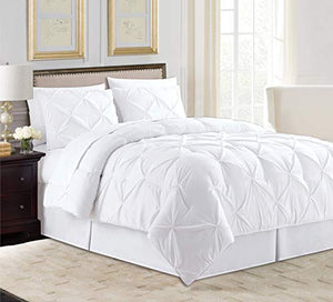 All American Collection 8 PC Soft Comfy Plush Pintuck Microfiber Comforter Set for Living Room Hotel Loft with Bedskirt Flat & Fitted Sheets Pillow Cases & Shams (Queen, White)