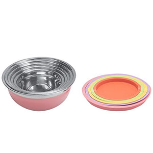 New Home Deal 21 Piece Mixing/ Salad Colored Stainless Steel Bowl Set with Matching Lids