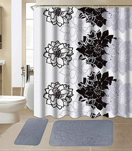 All American Collection 15-Piece Bathroom Set with 2 Memory Foam Bath Mats and Matching Shower Curtain | Designer Patterns and Colors (Flower Grey)