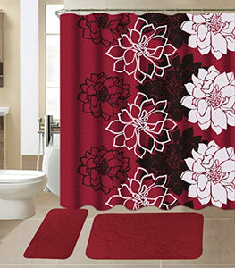 All American Collection 15-Piece Bathroom Set with 2 Memory Foam Bath Mats and Matching Shower Curtain | Designer Patterns and Colors (Flower Burgundy)