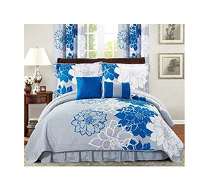 All American Collection New Flower Printed Reversible Bedspread Set with Dust Ruffle