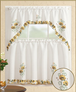 All American Collection Printed 3pc Kitchen Curtain Set With Swag Vala All American Decor