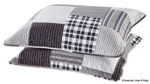 Load image into Gallery viewer, Black and Grey Modern Plaid Bedspread and Pillow Sham Set
