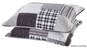 Black and Grey Modern Plaid Bedspread and Pillow Sham Set