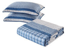 Load image into Gallery viewer, Blue and Gray Modern Plaid Bedspread and Pillow Sham Set | Matching Curtains Available!
